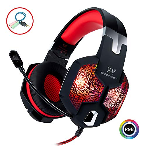 Stereo Gaming Headset with Mic for PC PS4 Xbox One Nintendo Switch,Lightweight Over Ear Headphones 3.5mm Jack for Laptop Mac,USB RGB LED Light & Noise Cancelling Mic Mute & Volume Control - Red
