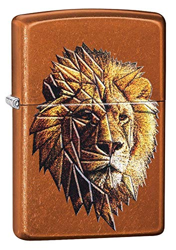 Custom Personalized Polygonal Lion Design Windproof Lighter Free Engraving #29865