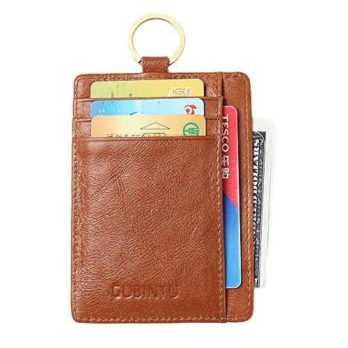 RFID Front Pocket Wallet Minimalist Wallet Slim Credit Card Holder Genuine Leather