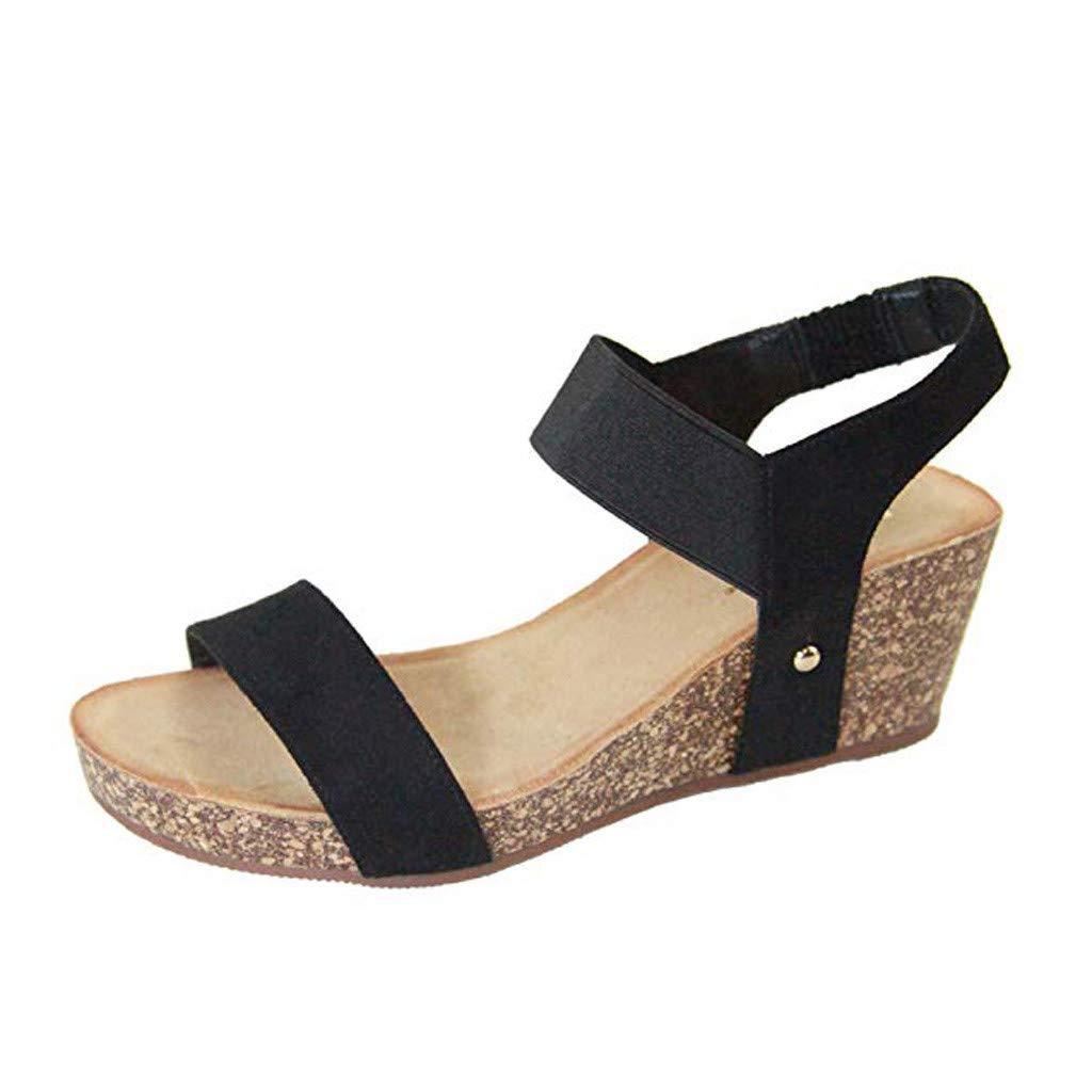 Sandals for Women's Wide Width Duseedik Summer Fashion Flat Open Toe Ankle Wedges Elastic Band Beach Shoes Roman Sandals Black