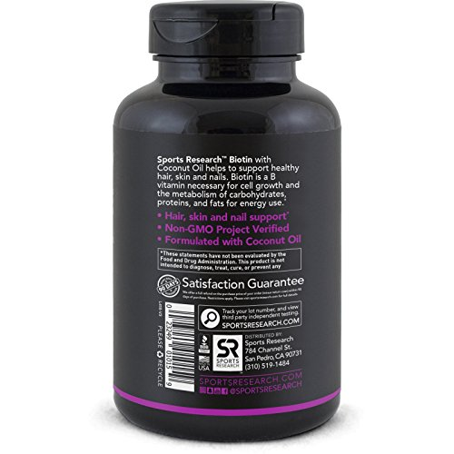 High Potency Biotin 10,000mcg Per Veggie Softgel; Enhanced with Coconut Oil for better absorption; Supports Hair Growth, Glowing Skin and Strong Nails; 120 Mini Veggie Softgels; Made In USA
