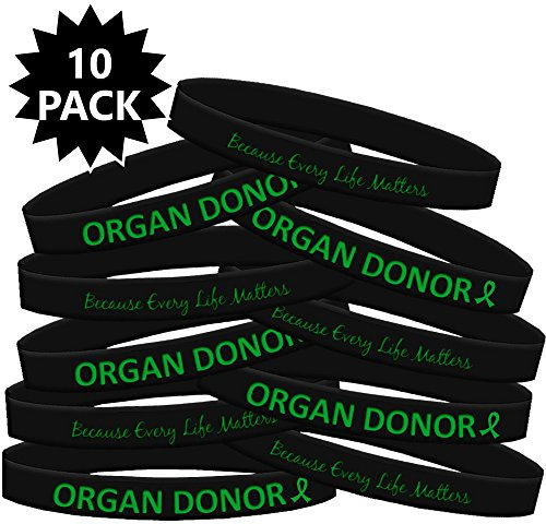 Fight Like a Girl Organ Donor Silicone Wristband Bracelets Organ Donation 10-Pack (Black)