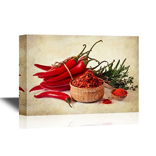 Red Peppers on Vintage Style Background