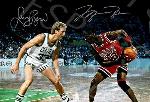 Larry Bird Michael Jordan Autograph Replica Poster Print - Boston Celtics Chicago - Celtics Boston Framed