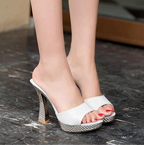 AWXJX Frauen Flip Flops Dick mit High High High Heel Mitte der Ferse Atmungsaktiv 5a982a