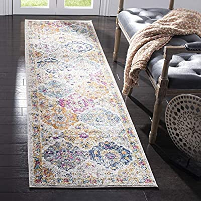 Safavieh Madison Collection Cream and Multicolored Bohemian Chic Distressed Rug