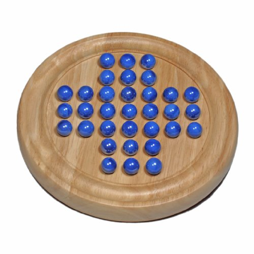 - WE Games Solid Wood Solitaire with Blue Glass Marbles