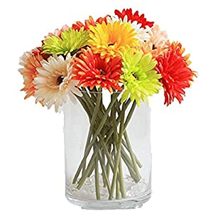10 Pack- Real Touch Latex Silk Artificial fake plastic Daisy Chrysanthemum Flowers Sun Chrysanthemum,Sunflower, Simulation Gerber, Dimorphotheca,Party Room home Decoration DIY Flower Bouquet 8