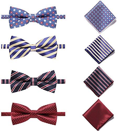 AUSKY 4 Pack Elegant Adjustable Pre-Tied Bow Tie Pocket Square Handkerchief set for Men Boys