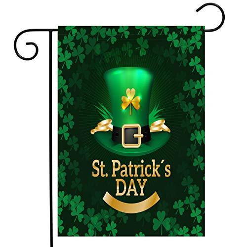 Coolhills Happy St. Patricks Day Garden Flag 12 18 Inch Double Sided Shamrock Clover House Decorative Flag,Irish Green, Courtyard Decoration, Home, Outdoor Decor