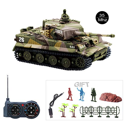 Fun-Here Mini RC Tank with USB Charger Cable Remote Control Panzer Tank 1:72 German Tiger I with Sound, Rotating Turret and Recoil Action When Cannon Artillery Shoots 35MHz(Khaki) ()