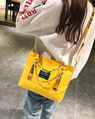 Cruzada Amarillo Cuerpo Grande Mujer Tomwell Bolsos Hombro Moda De Bolsa Lona Mano A Bolso Niña Bandolera TZZPn07