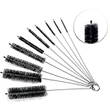 Cleaning Brush, Versatek Tube Brush 8 inch Nylon Brushes Set with Protective Cap for Tube, Drinking Straws Glasses Keyboards Jewelry Cleaning, Etc (10 Pieces)