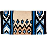 Mayatex New Phoenix Saddle Blanket, Black/Sand/Periwinkle/Fawn/Cream, 38 x 34-Inch