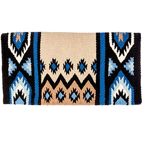 Mayatex New Phoenix Saddle Blanket, Black/Sand/Periwinkle/Fawn/Cream, 38 x 34-Inch ()