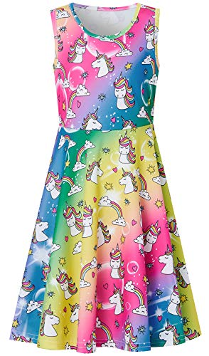 Sundress for Girls Size 7-8,Fashion Little Girls Crew-Neck Tunic Skater Playwear Dress Sleeveless Dress Rainbow Unicorn Floral ()