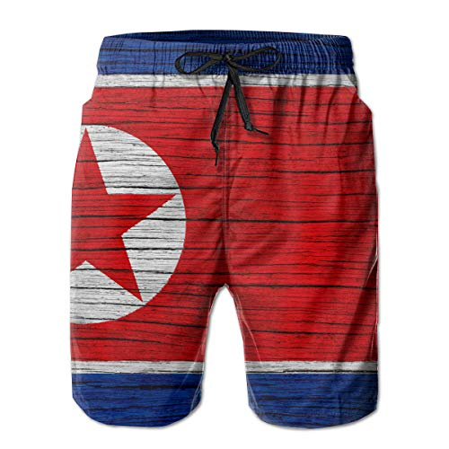 HFSST North Korea Wooden Texture Dprk Flag Men Kid Male Summer Swimming Pockets Trunks Beachwear Asual Shorts Pants Mesh
