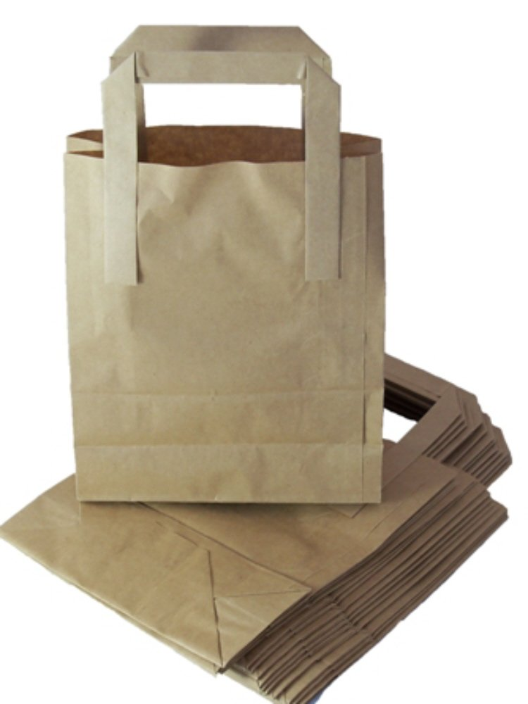 100 Medium Brown Kraft Paper Carrier Bags With Handles SOS Block Bottom Size 8 x 4 x 10