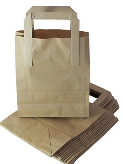 50 tamaño mediano bolsas de papel Kraft con Asas SOS bloque ...