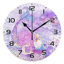 ZOEO Mermaid Wall Clock Vintage Battery Operated Non Ticking Unicorn Cat Purple 9 inch Clock Silent Art Bedroom Kitchen Clock Atomic Analog Clocks Home Valentine's Day Decor for Girls Kids