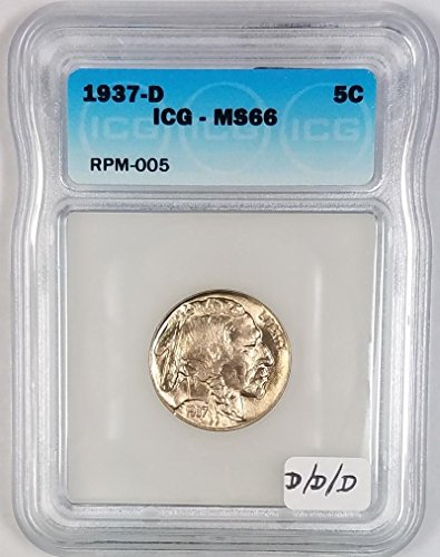 1937 D Buffalo ICG Certified; D/D/D mintmark; RPM-005 Nickel MS-66
