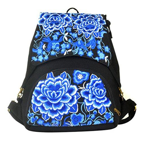 YAANCUN Vintage Mochila Bordado Floral Escolar Bolsa Mujer Mochila Del Estudiante Backpack Bolsa de Viaje Comme l'image#4