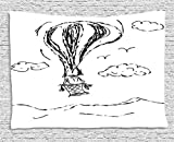THndjsh Modern Tapestry, Hot Air Balloon Sketch in the Clouds Murky Air Journey Artistic Picture, Wall Hanging for Bedroom Living Room Dorm, 80 W X 60 L Inches, Charcoal Grey White