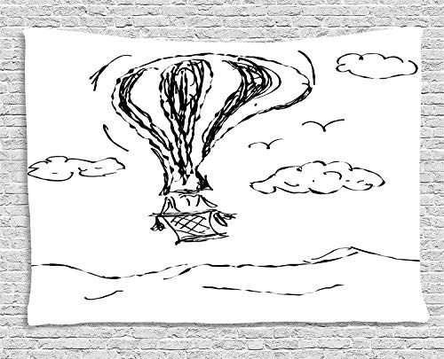 THndjsh Modern Tapestry, Hot Air Balloon Sketch in the Clouds Murky Air Journey Artistic Picture, Wall Hanging for Bedroom Living Room Dorm, 80 W X 60 L Inches, Charcoal Grey White by THndjsh