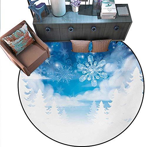 Winter Print Area Rug Christmas Trees Setting Snowflakes Stars Year Graphic Image Home Decor Foor Carpe (79