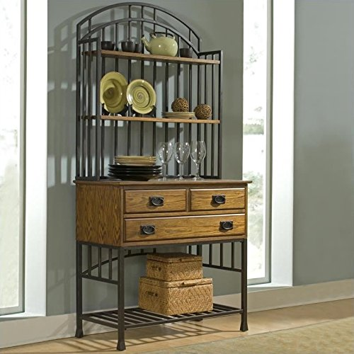 Home Styles 5050-615 Oak Hill Bakers Rack with Hutch, Distressed Oak (Bakers Rack Hutch)