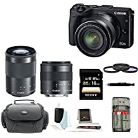 Canon EOS M3 Mirrorless Digital Camera with EF-M 18-55mm & 55-200mm Lenses (Black) with 16GB Accessory Bundle Basic Intro Review Image