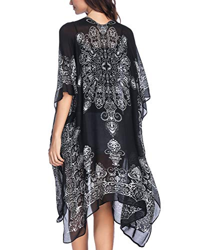 Moss Rose Women's Beach Cover up Swimsuit Kimono Cardigan with Bohemian Floral Print Black and ()