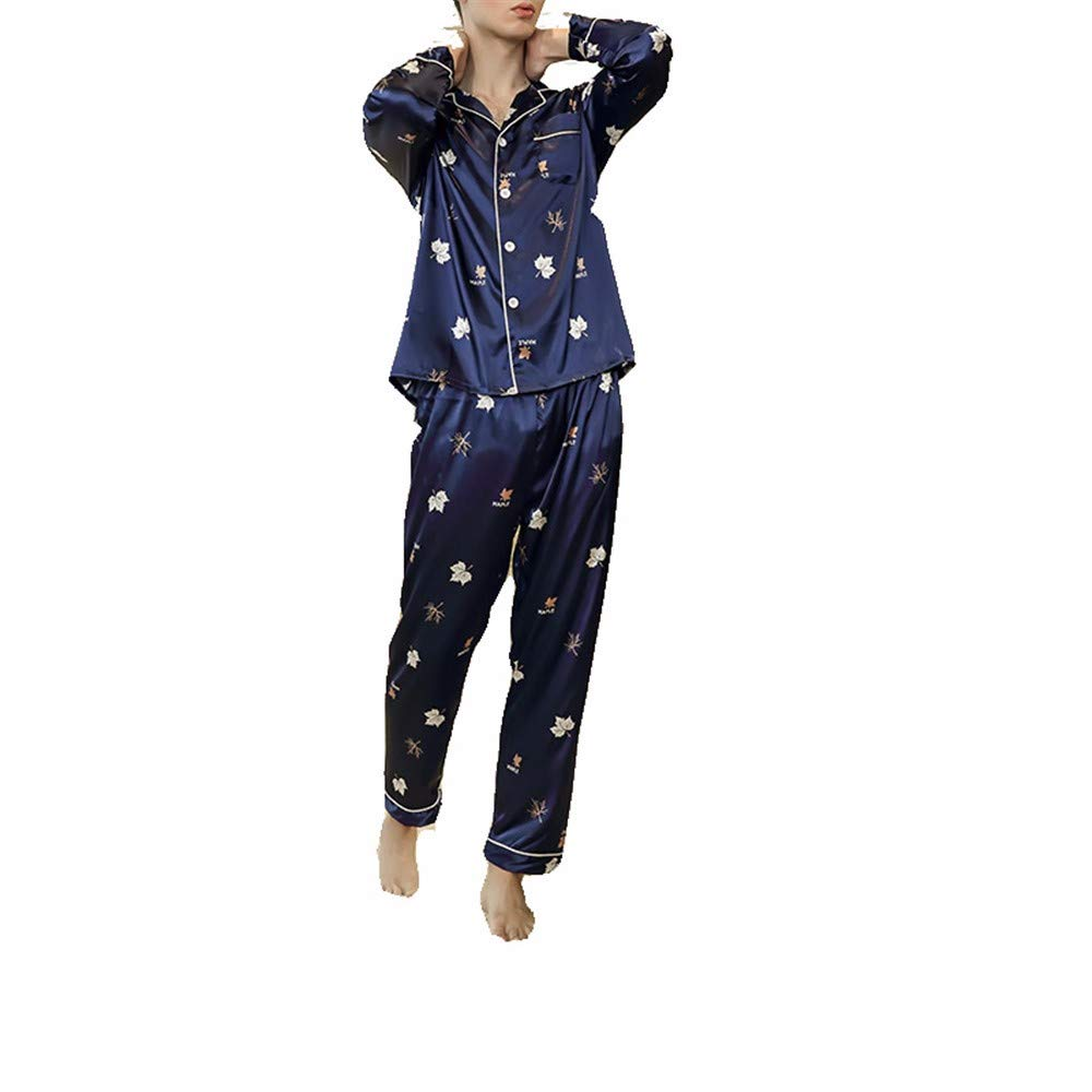 Pajamas Men//Maple Leaf Print Silk Pajama Set//Mens Solid Color Home Service