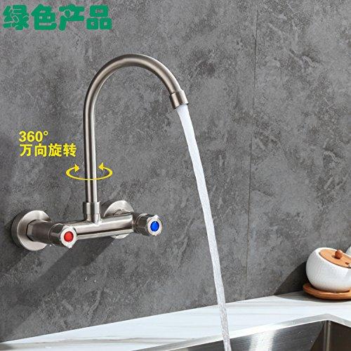 Küche oder Badezimmer Waschbecken Mischbatterie Double-Two Löcher in der Wand montiert Leitungswasser aus Edelstahl 304 Cold-Hot Wanne Doppelwaschbecken Wäscheservice Pool Schalter 000 2 Funktionen