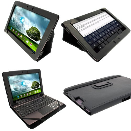 iGadgitz Black 'Portfolio' PU Leather Case Cover for Asus Transformer Pad & Keyboard Dock TF700 TF700T TF700KL Infinity 10.1