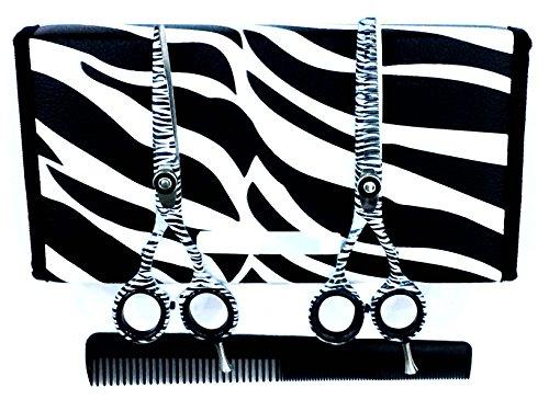 """ZZZRT White Zebra Japanese J2 Stainless Steel Pro Razor edge Barber Hair cutting scissors shears Barber Thinning Scissors Shears 5.5""""& 5.5"""" with Comb + Free scissors Lubricant & scissors insert rings"""