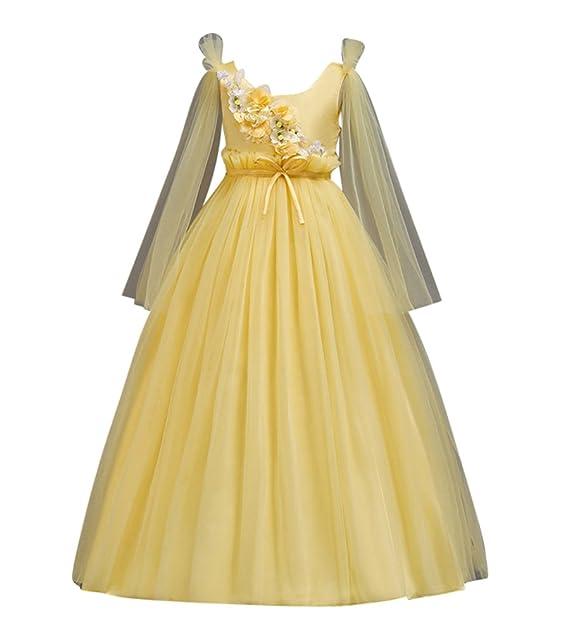 GUOCU Vestido de Niña de Flores Elegante Manga Larga Encaje Tul Comunión Cumpleaños Bola Pageant Paseo