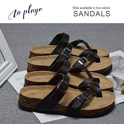 LA PLAGE Girl Women's Adjustable Toe Ring Flat Slide Cork Sandals for Summer 8 US Brown by LA PLAGE (Image #6)