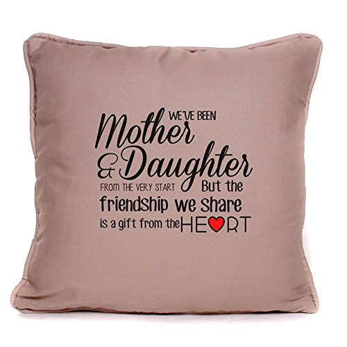 Gift Phrase Pillow - Gift for Mum |'Mother Daughter Friendship' Throw Pillow Cover | 18x18 Inch Cushion Cover for Birthdays, Women's Day, Mother's Day