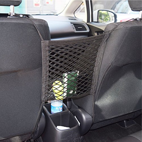 Car Armrests Seats Purse Storage Organizer, Children Kids Disturb Stopper,Universal Car Truck Storage Luggage Hooks Hanging Organizer Holder Seat Bag Mesh Net,Storage Add On (Single Layer) ()