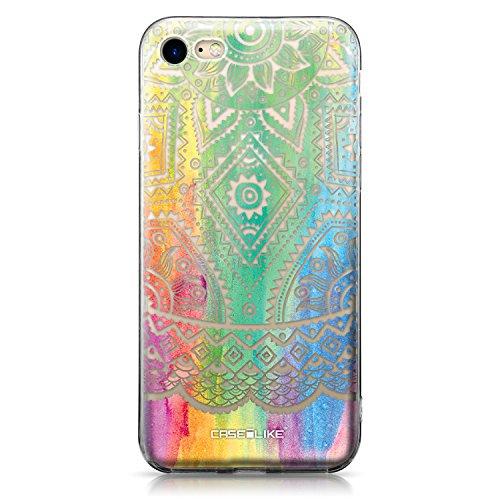 CASEiLIKE Funda iPhone 7 , Carcasa Apple iPhone 7, París vacaciones 3904, TPU Gel silicone protectora cover Arte indio de la línea 2064