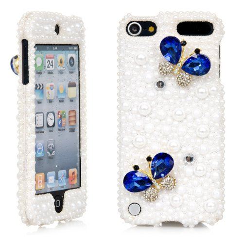 iPod Touch, 3D White Pearl Bling Rhinestone Crystal Jeweled Snap on Full Cover Case for Apple iPod Touch 6th Gen 5th Gen (Blue Butterfly)
