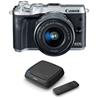 Canon EOS M6 Mirrorless Digital Camera Silver Kit with EF-M 15-45mm f/3.5-6.3 IS STM Lens - With Canon Connect Station CS100