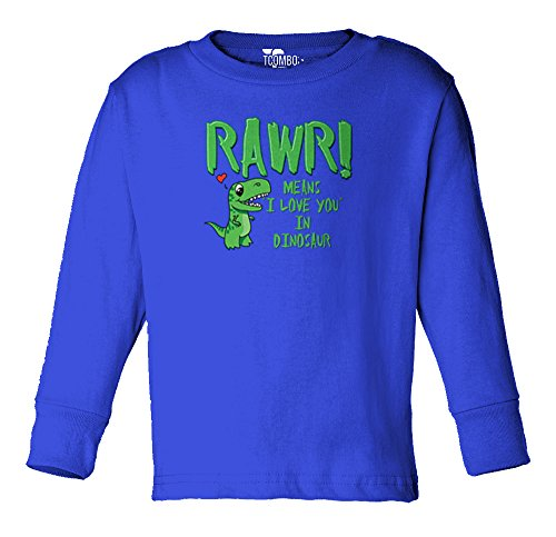 (RAWR Means I Love You in Dinosaur - Toddler Little Boy Long Sleeve T-Shirt (5T, Royal)