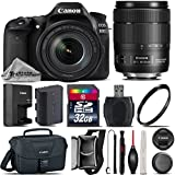 Canon EOS 80D DSLR Camera + Canon 18-135mm IS USM Lens + 32GB Class 10 Memory Card + Canon EOS Shoulder Bag 100ES + UV Filter + Card Reader + Lens Cap Holder + Air Cleaner - International Version