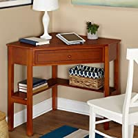 Wood Corner Contemporary Durable Writing / Computer Desk, Includes drawer and lower shelves for books and knickknacks Computer Desk (Brown)