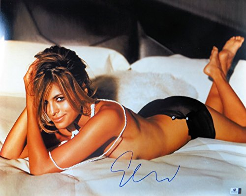 Eva Mendes Signed Autographed 16X20 Photo Sexy on Bed Pearl Necklace GV793493