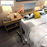 Young shinee Laptop Bed Table, Portable Laptop Stand Desk Cart With Mouse Board Adjustable Table Sofa Bedside Table Overbed Table Adjustable Height (Color : Wood Color)