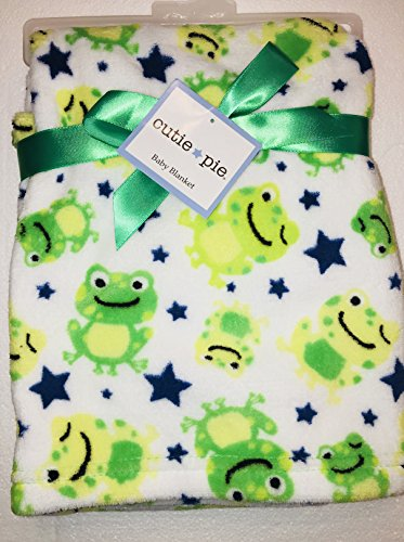 - Cutie Pie Baby Super Cute & Soft Baby Blanket with Frogs, white