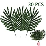 FEPITO 30 PCS Faux Tropical Palm Leaves Artificial Tropical Plant Leaves with Stems for Luau Party Decoration Hawaiian Safari Party Jungle Beach Theme BBQ Party Decorations Supplies